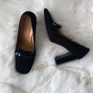 VTG Vintage Bally Block Heel Pump Suede Black